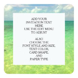 Aqua Green Ocean   Turks and Caicos Photo 13 Cm X 13 Cm Square Invitation Card