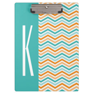 Aqua Green & Orange Chevron Stripes Clipboard