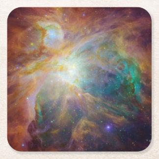 Aqua Green Orion Nebula Square Paper Coaster