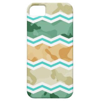 Aqua Green, Peach, & Tan Camo Chevron iPhone 5 Case