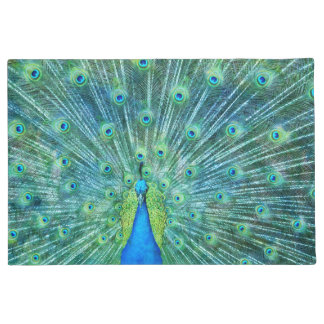 Aqua Green Peacock Feathers Doormat