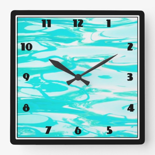 Aqua Green Pool Water Abstract Background Wall Clock