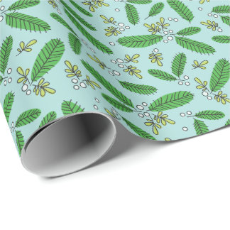 Aqua Green Retro Pine Branch Christmas Holiday Wrapping Paper