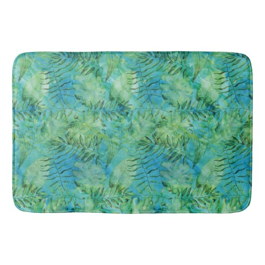 Aqua Green Tropical Hawaii Leaves Watercolor Bath Mat