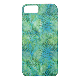 Aqua Green Tropical Hawaii Leaves Watercolor iPhone 8/7 Case
