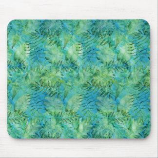 Aqua Green Tropical Hawaii Leaves Watercolor Mouse Mat