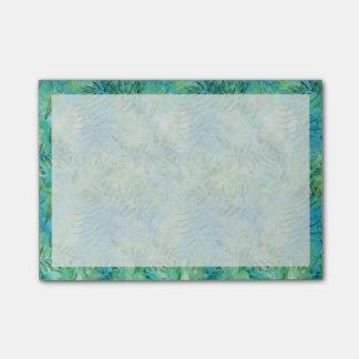 Aqua Green Tropical Hawaii Leaves Watercolor Post-it Notes