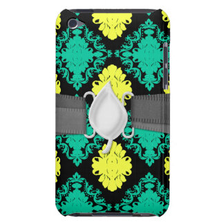 aqua green yellow green black diamond damask iPod touch cover