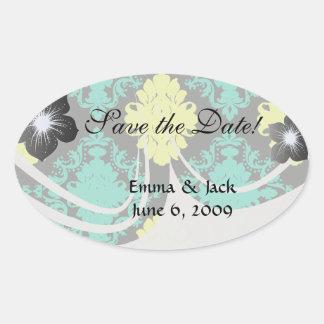aqua green yellow green black diamond damask oval stickers