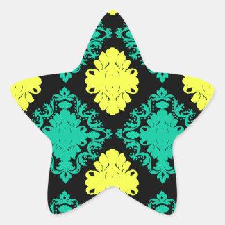 aqua green yellow green black diamond damask star stickers