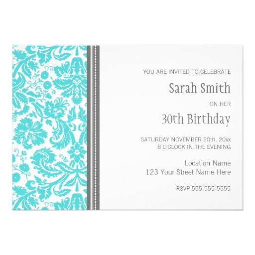 Aqua Grey 30th Birthday Party Invitation