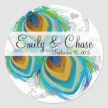 Aqua Grey 3 Peacock Feathers Wedding Sticker