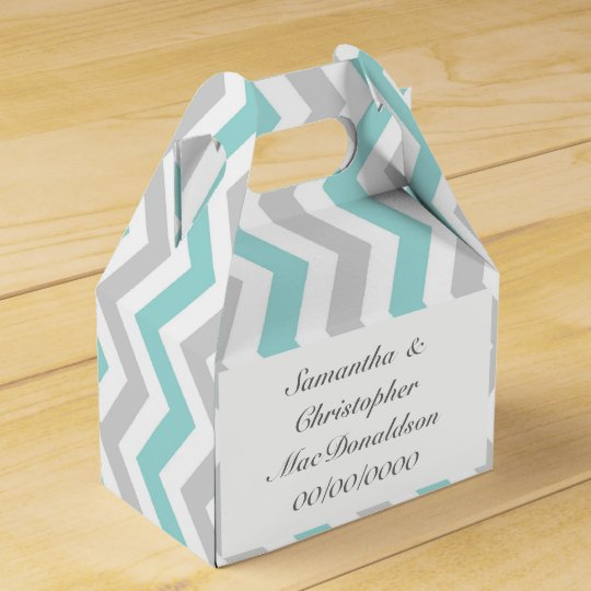 Aqua grey and white chevron wedding favour box