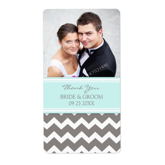 Aqua Grey Chevron Photo Wedding Labels