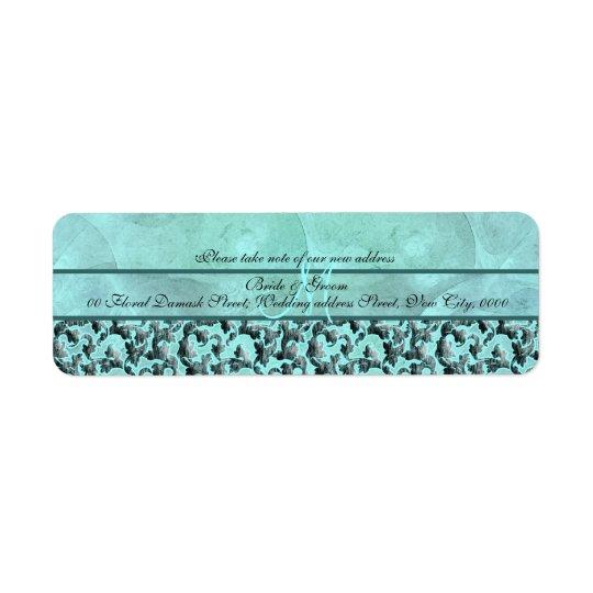 """Aqua grey """"new address"""" wedding floral damask"""