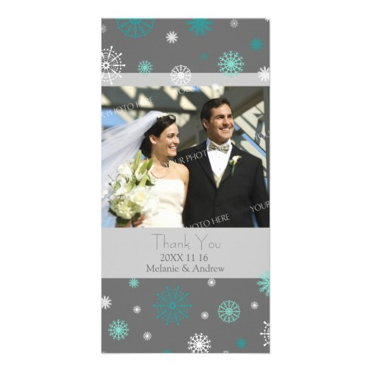 Aqua Grey Thank You Winter Wedding Photo Cards