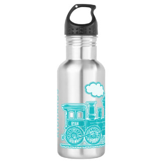 Aqua grey train kids boys full name drinks bottle