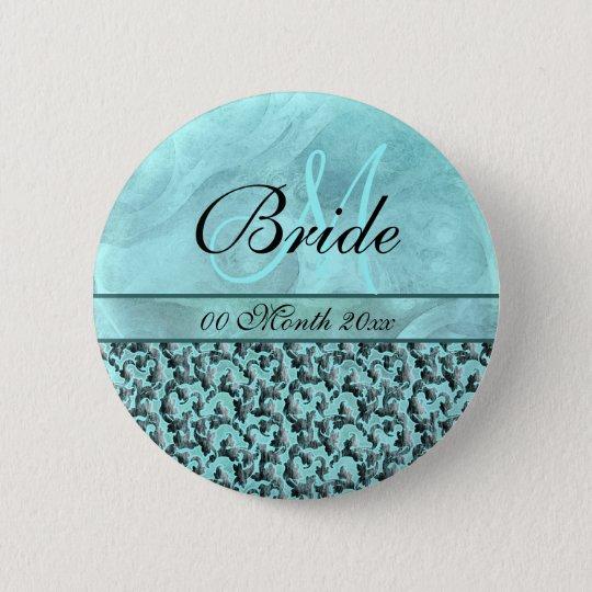aqua grey wedding bride floral damask 6 cm round badge