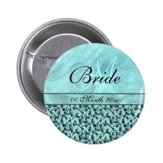 aqua grey wedding bride floral damask pinback button