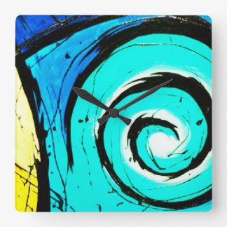 Aqua Groovy Modern Swirls Abstract Square Wall Clock