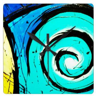 Aqua Groovy Modern Swirls Abstract Wall Clocks
