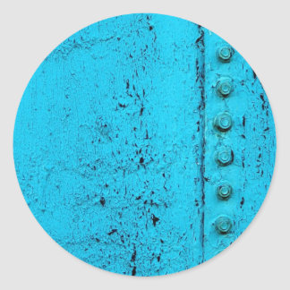Aqua Grungy Metal Texture Classic Round Sticker