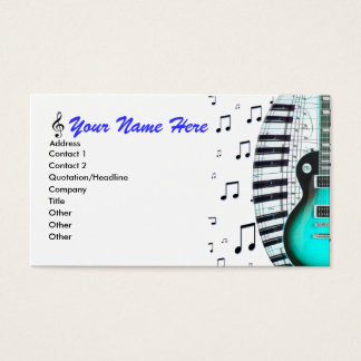 Aqua Guitar Piano Keyboard & Notes Business Card