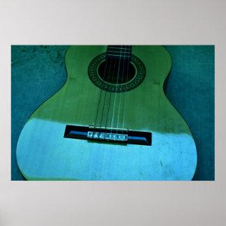Aqua Guitar Poster