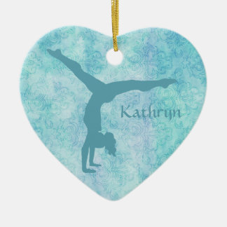 Aqua Gymnast on Teal Pattern Christmas Ornament