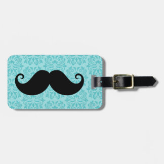 Aqua handlebar mustache on black damask pattern luggage tag