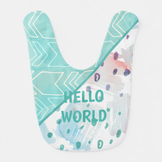 Aqua Happy Hello Abstract Patterned Bib