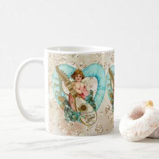 Aqua Heart Golden Cherub & Harp Bokeh Bling Coffee Mug