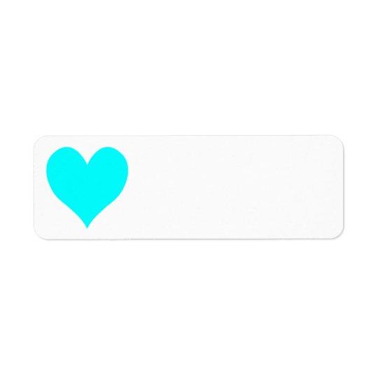 Aqua Heart Return Address Label