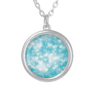 Aqua Hearts Bokeh Custom Jewelry