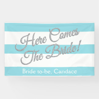 Aqua, Here Comes The Bride, Bridal Shower Banner