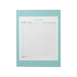 Aqua Herringbone Income & Expense Tracker Notepad