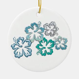 Aqua Hibiscus Blooms Round Ceramic Decoration