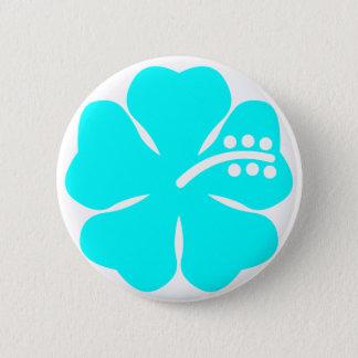 Aqua hibiscus flower 6 cm round badge