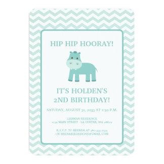 Aqua Hippo with Chevron Birthday Card