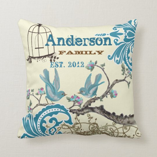 Aqua Hot Pink Birds Family Established Throw Pillow