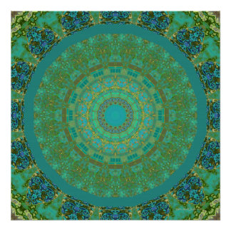Aqua House 5 Blue Green Kaleidoscope Poster