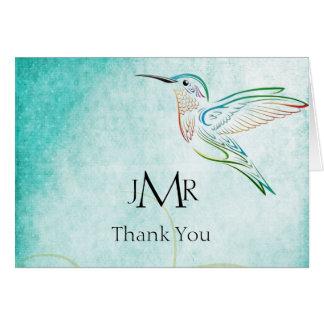 Aqua Hummingbird Watercolor Anniversary Thank You Card