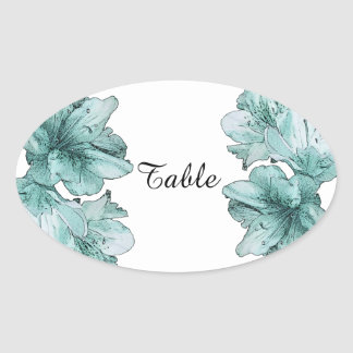 Aqua Illustrated Flower Customize Wedding Sets Oval Sticker