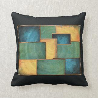 Aqua Indigo Color Block Accent Pillow
