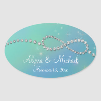Aqua Infinity Symbol Sign Infinite Love Twinkling Oval Sticker