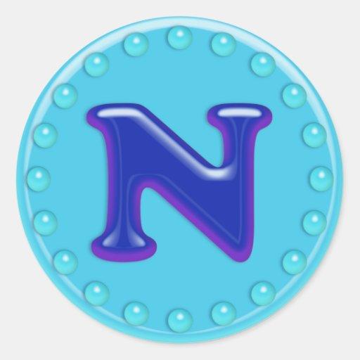Aqua Initial N Round Stickers