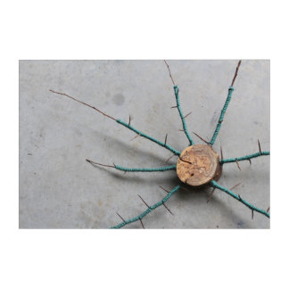 Aqua Jute & Wood Nature String Art Oblique
