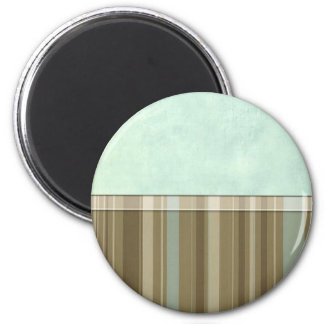 Aqua Khaki Stripe 6 Cm Round Magnet