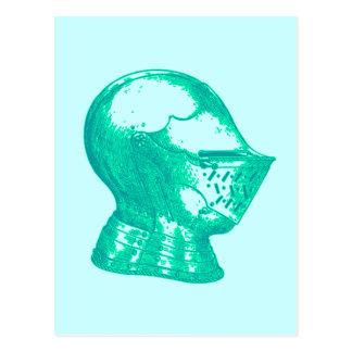 Aqua Knight Armor Medieval Helmet Knights Post Card