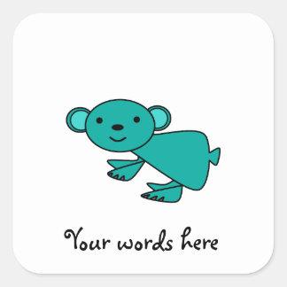 Aqua koala square sticker